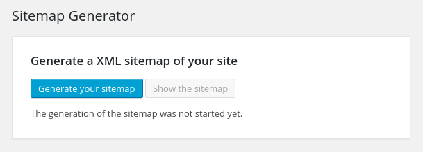 User interface of the Sitemap Generator